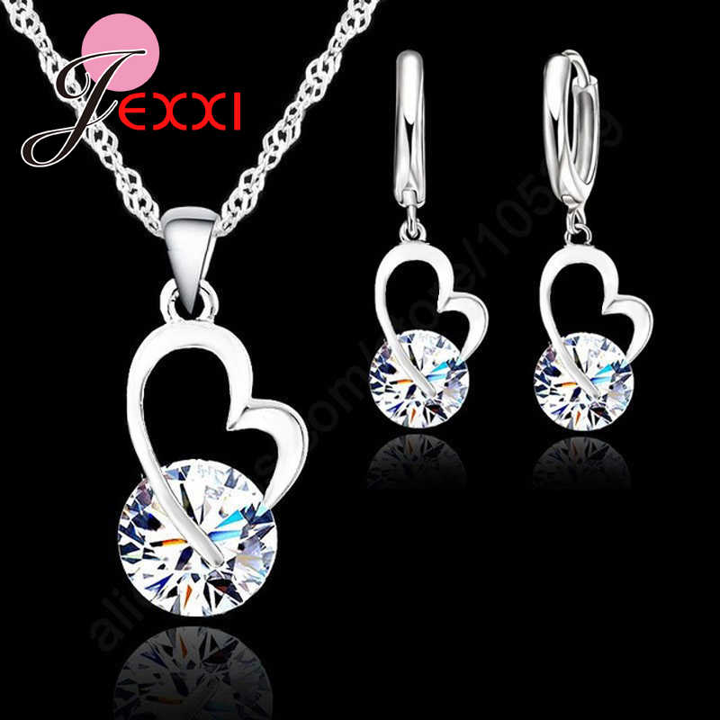Fashion Wedding Gift Jewelry 925 Sterling Silver Heart Round Crystal Earrings Necklace Set Hot High Quality Gifts For Women