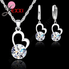 Fashion Wedding Gift Jewelry 925 Sterling Silver Heart Round Crystal Earrings Necklace Set Hot High Quality Gifts For Women(China)