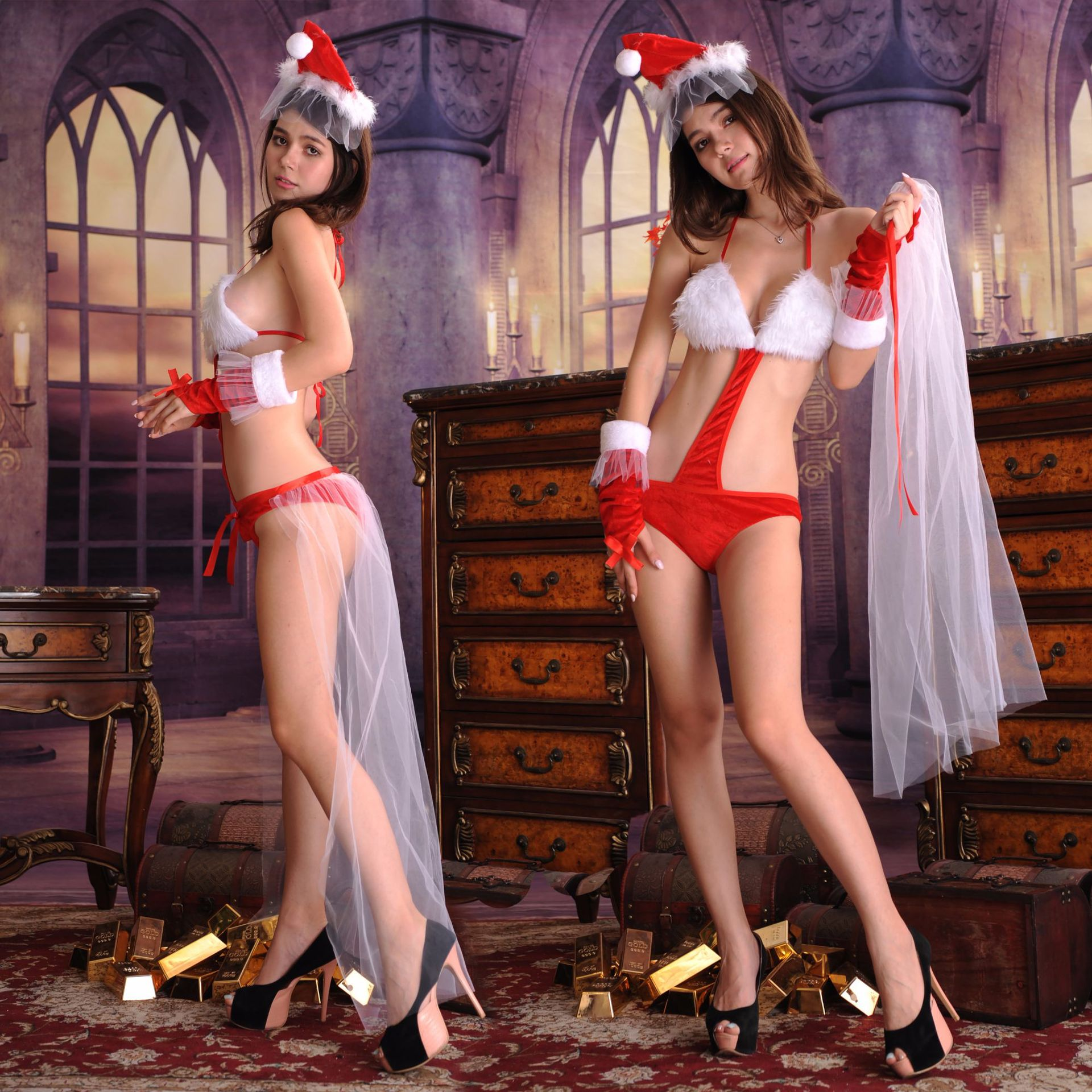 Diplomatisch Sexy Vrouwen Stadium Rollenspel Drie Punt Bikini Siamese Kerst Jurk Sexy Kostuum Cosplay Kerst Lingerie Pak Goedkope Verkoop