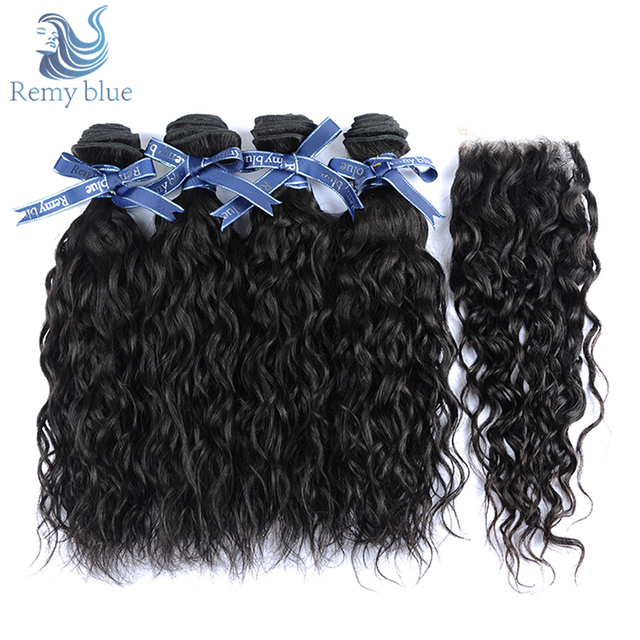 Remy Blue Hair Brazilian Bundles With Closure Remy Hair Water Wave