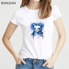 Novelty Watercolor Art Brilliant color T Shirt women Summer Cute T-Shirt femme Cool cat Design Girl Tops White Casual Tees