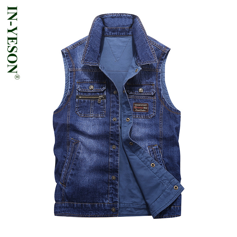 New Fashion Denim Vest Men Brand IN-YESON colete masculino inverno Zipper Pockets Reversible Double Side Jeans Vest For Men