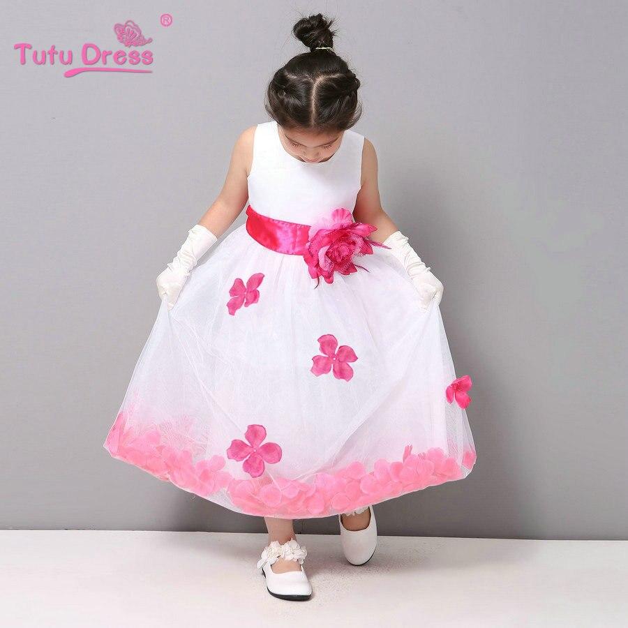 Blumenmädchen Kleider WEIß mit Rose Blütenblatt Kleid Hochzeit ...