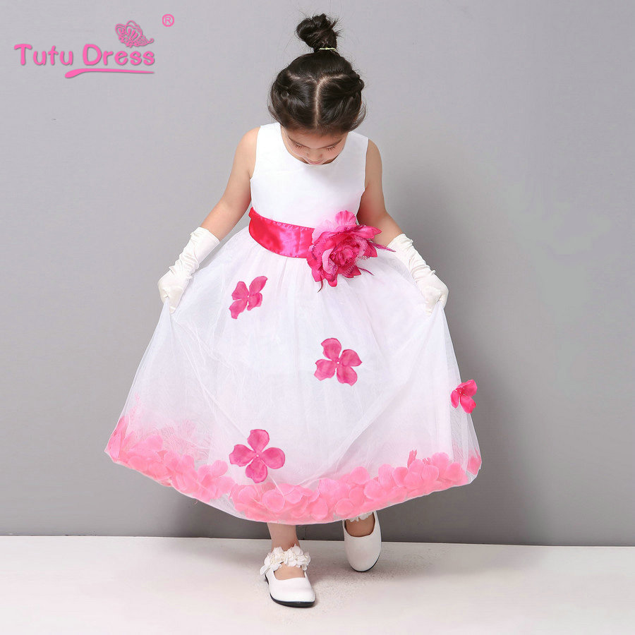 dccdae988f5 Flower Girl Dresses WHITE with Rose Petal Dress Wedding Easter Bridesmaid  For Baby Children Toddler Teen Girls