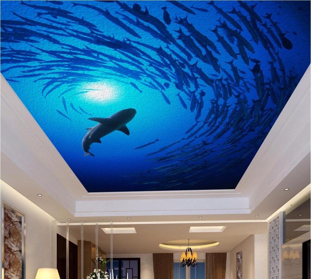 online get cheap mural fish wallpaper for wall aliexpress com custom photo 3d ceiling murals wallpaper deep sea fish dolphin room decoration painting 3d wall murals