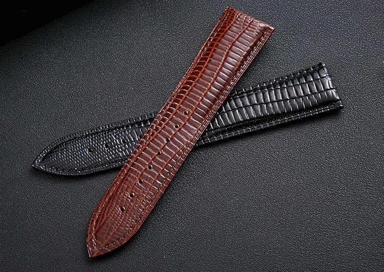 Взрывной крокодиловой кожи узор кожаный ремешок Бабочка Пряжка Смотреть band ящерица узор