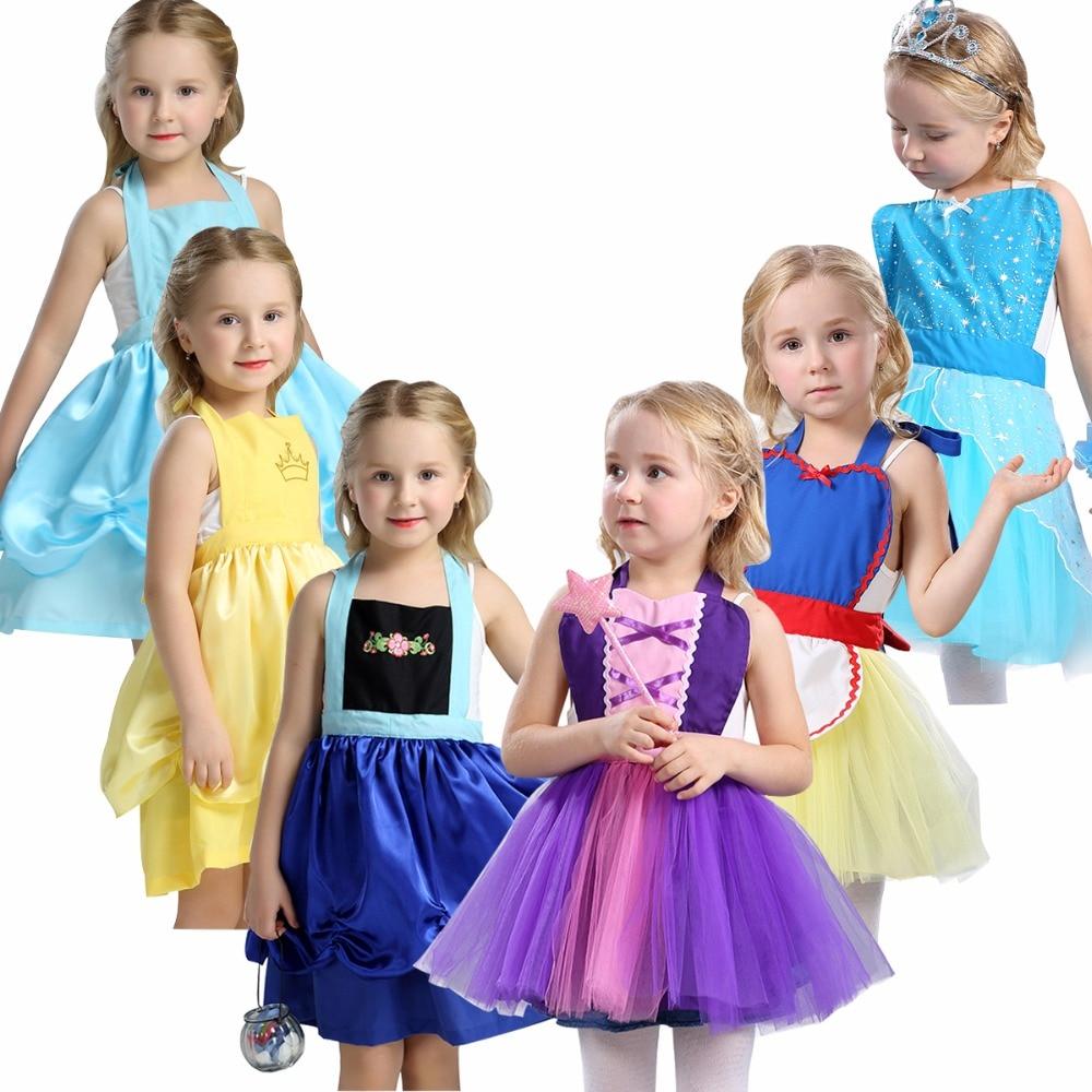 White apron belle - 2017 Summer Baby Girls Apron Cotton Dress Girls Princess Elsa And Anna Belle Rapunzel Snow White