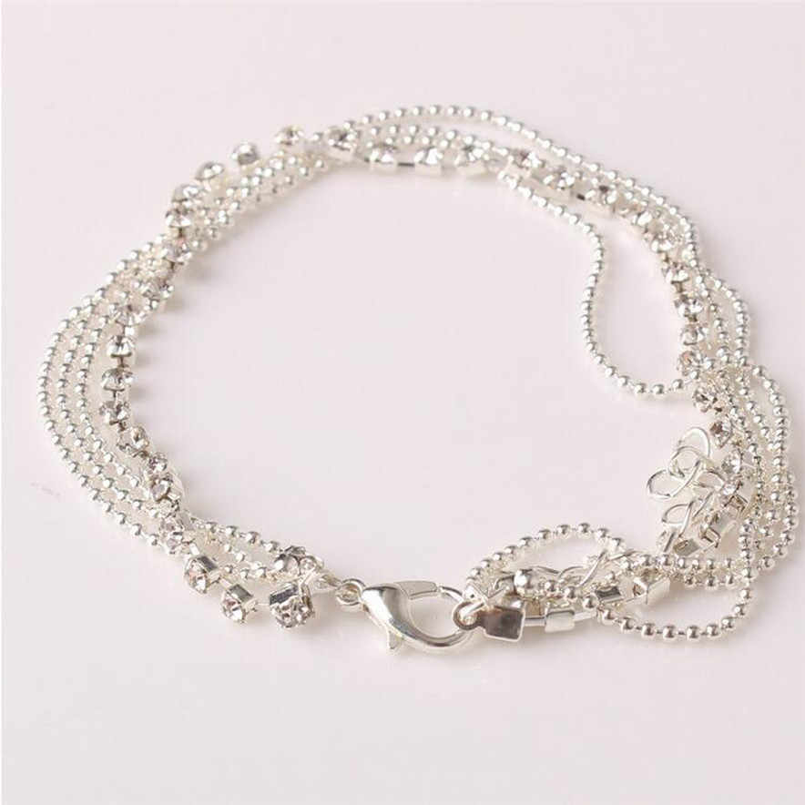 Stylish Jewelry Fashion Women silver color Anklet Multi Layer Silver Crystal Ball Bracelet Anklet Ankle Foot Chain Women Jewelry