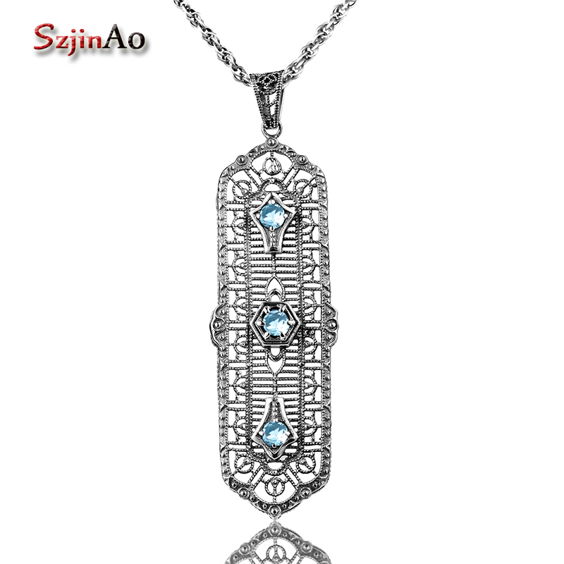 Szjinao Solid 925 Sterling Silver Pendants Round Aquamarine Choker Statement Necklace Women Vintage Jewelry Hot Sale
