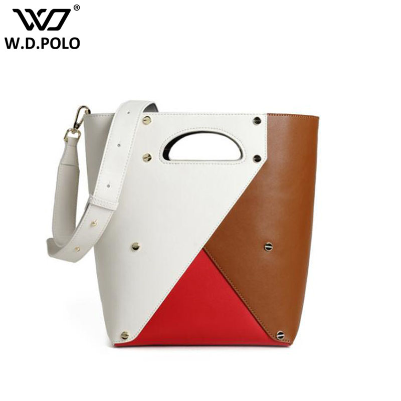 New Genuine Leather Women Tote Fashion Bucket Lady Shoulder Bags Patchwork Geometry Design Women Handbags Q0147New Genuine Leather Women Tote Fashion Bucket Lady Shoulder Bags Patchwork Geometry Design Women Handbags Q0147