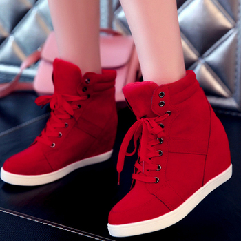 Spring Women Boots Faux Suede Leather Wedge Platform Hidden Heel Shoes High Top Sneaker Casual for Woman Ankle Boot
