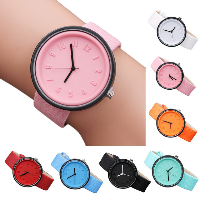 Candy color Fashion Numer simple watches women's quartz wristwatches women casua