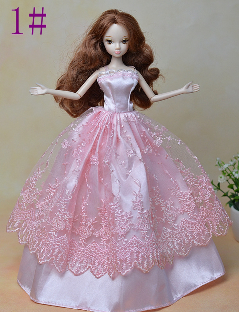 Pink Vogue Marriage ceremony Costume For Barbie Dolls Lengthy Costume Vestido Robe For 1/6 BJD Doll Garments Birthday Present