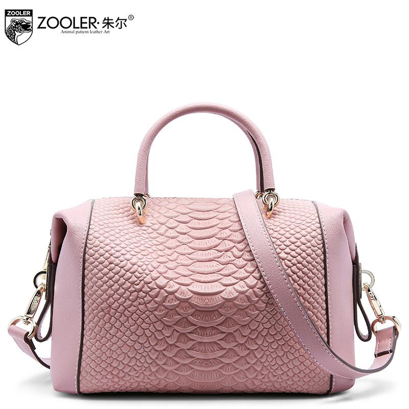 2017 New  genuine leather women bag brand fashion quality serpentine fashion boston bag women leather handbags shoulder bag