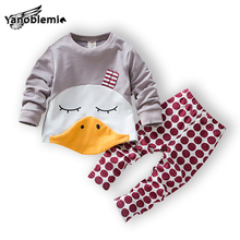 Baby Boys Girls Brand Clothing Sets Children's Cartoon Duck Pattern Pullover Coat+Pants Kid 2pcs Christmas Clothes Outfit Jersey