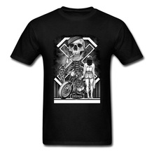 Rider Skull Motorcycle Cool T Shirts Mens Summer New Fashion Vintage Design Cotton Pin Up Sex Punk T-Shirts 2018