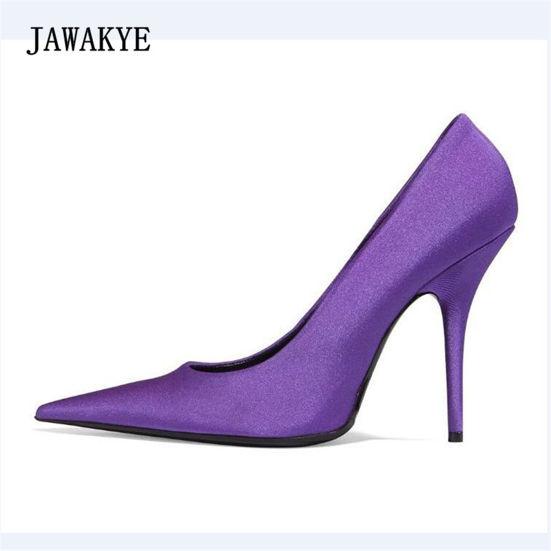 JAWAKYE New Arrival Purple Satin High Heel Shoes Woman Pointed Toe Sexy Pumps Women Fashion Red Black Green Party Shoes 2018 office lady peep toe ankle women pumps party women shoes new fashion cheap price hot selling sexy high heel red purple black