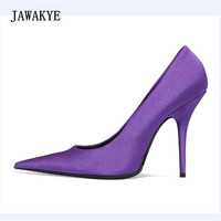 JAWAKYE New Arrival Purple Satin High Heel Shoes Woman Pointed Toe Sexy Pumps Women Fashion Red Black Green Party Shoes 2018