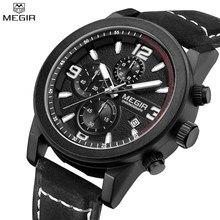 MEGIR Men Chronograph Waterproof Multifunction Casual Watch Function Dial Genuine Leather Auto Date Watch Relogio Masculino