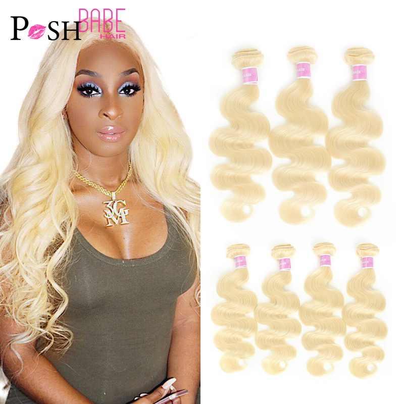 1/3/4 Stuks 613 Blonde Kleur 28 30 32 34 36 Inch Braziliaanse Body Wave Bundels Remy weven Menselijk Haar Uitbreiding Inslag Gratis Verzending