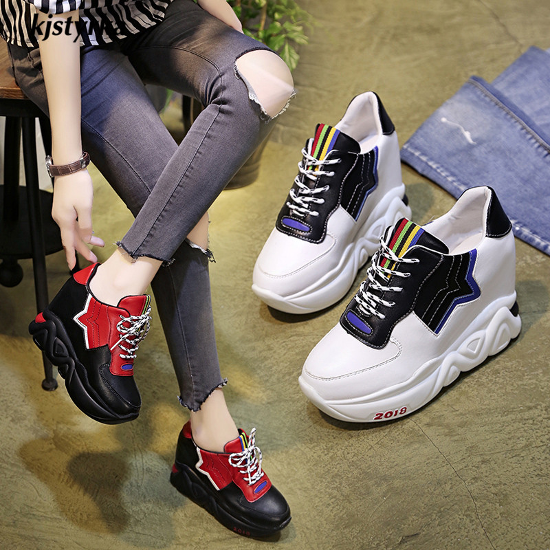 Kjstyrka 2018 Zapatillas Mujer summer autumn Casual mixed color women sneakers fashion increasing ladies wedges platform shoes 2
