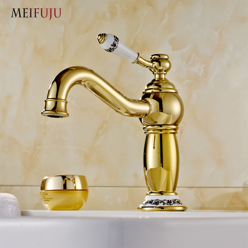 Luxury Golden Finish Bathroom Basin Faucet Single Handle Bathroom Sink Mixer Faucet Crane Tap Brass Hot Cold Water Deck Mounted luxury golden finish bathroom basin faucet single handle bathroom sink mixer faucet crane tap brass hot cold water deck mounted