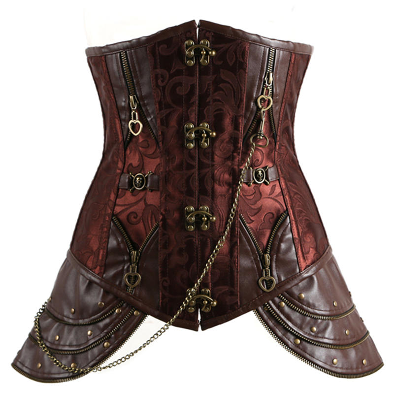Women Corset Gothic Brown  Leather Corset Tops M1345