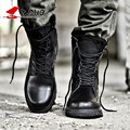 Z. Suo de Alta Calidad Los Hombres de Cuero Genuino Negro Botas Militares Botas Tácticas botas Del Ejército de Los Hombres Zapatos de Cuero Zapatos de Los Hombres