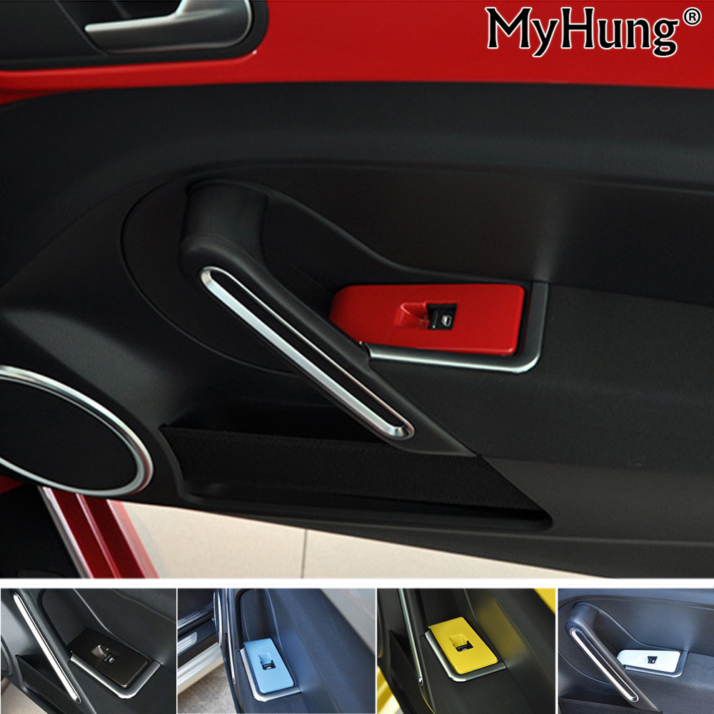 1PC For VW Beetle Car Inside Inner Door Window Glass Switch Panel Decorative Cover Plate Frame Molding Car Styling Accessories