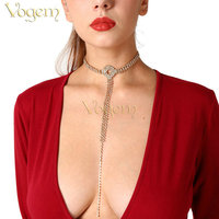 VOGEM Crystal Tassel Long Necklaces For Women Rose Gold Silver Luxury Sexy Statement Chocker Necklace Rhinestone