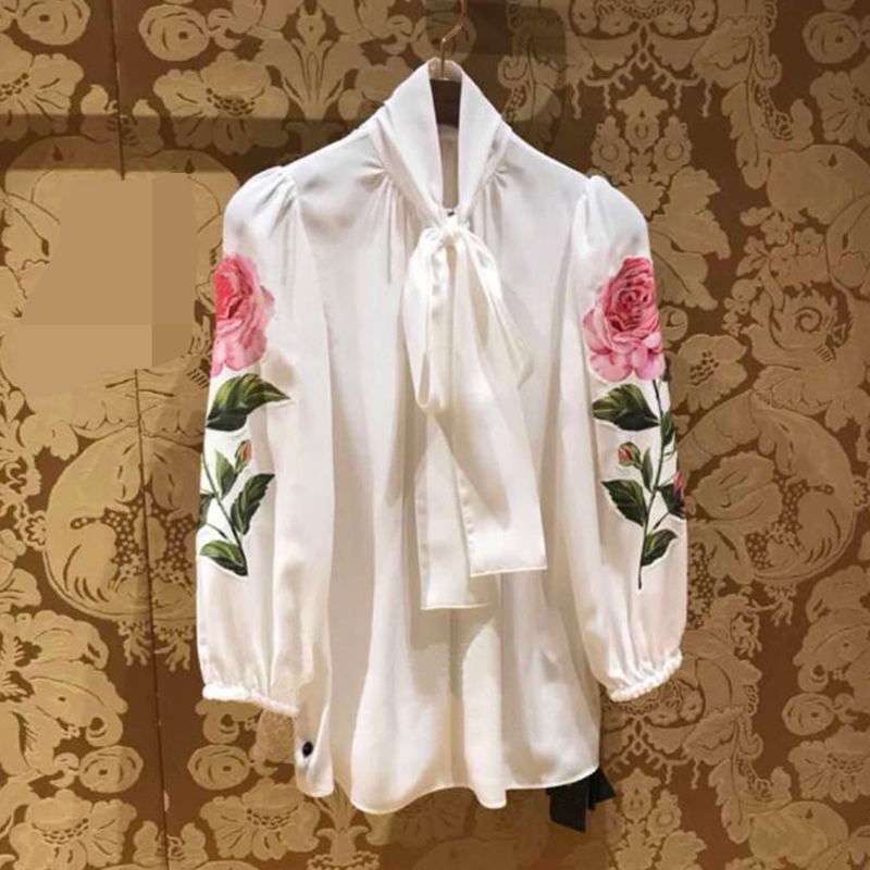 HIGH STREET Designer Stylish   Blouse   Tops Women's Long Sleeve Bow Collar Rose Brief   Blouse     Shirt