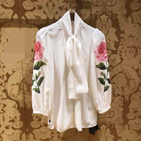 HIGH STREET Designer Stylish Blouse Tops Women's Long Sleeve Bow Collar Rose Brief Blouse Shirt