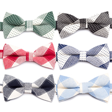 все цены на New Men Bow Tie Fashion Cotton Stripe Bowtie Wedding Party Ties for Men Butterfly Necktie Man Dress Shirt Gift Male Accessories