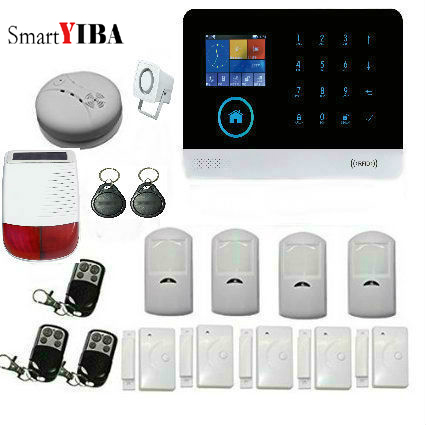 SmartYIBA Wireless GSM Home Security Burglar Alarm System with Wireless Smoke Detector Sora Siren PIR Control Alarm Sensor Kits