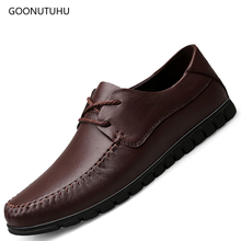 2019 new fashion men's shoes casual genuine leather cow breathable brown and black shoe man youth driving platform shoes for men high quality mens basic shoe 2017 fashion for men casual shoes breathable genuine cow leather man elastic man brand shoes