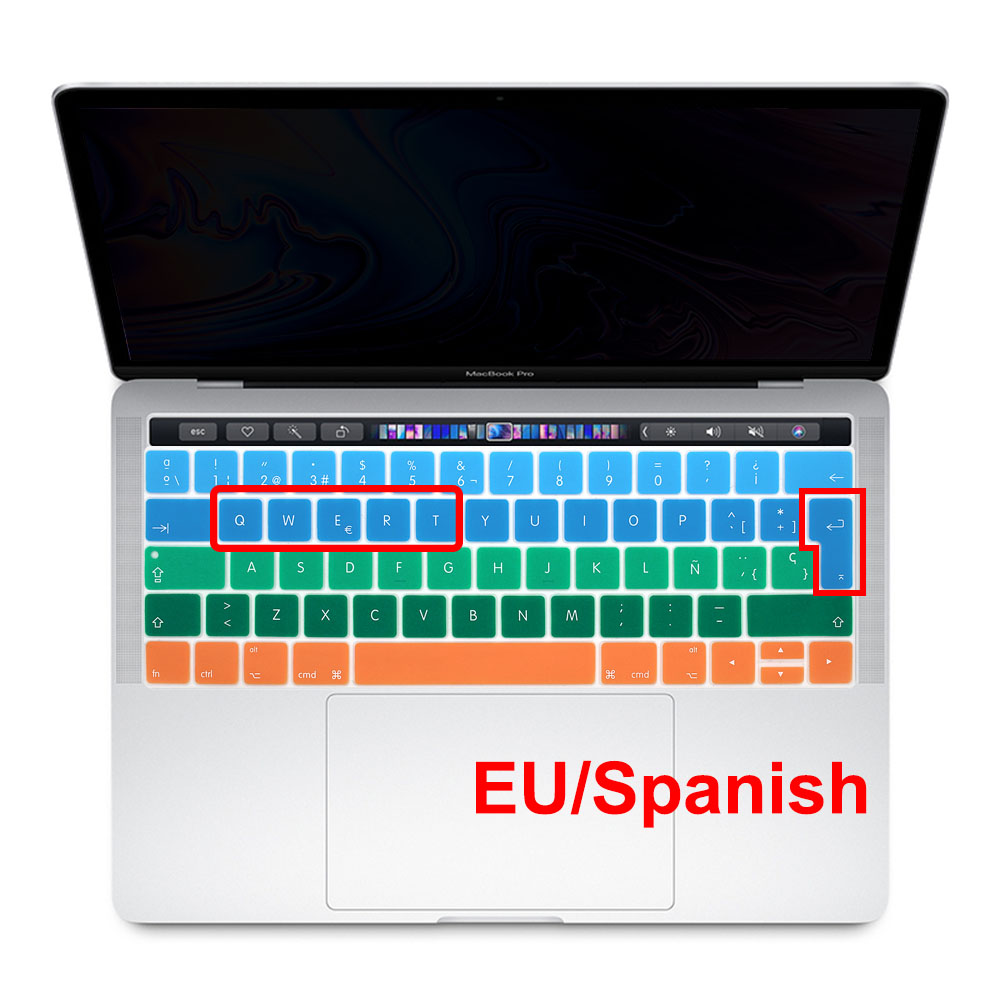 Redlai Silicone EU Spanish Gradient Keyboard Cover Stickers Protector For MacBook Pro 13 15 With Touch Bar A1706 A1707