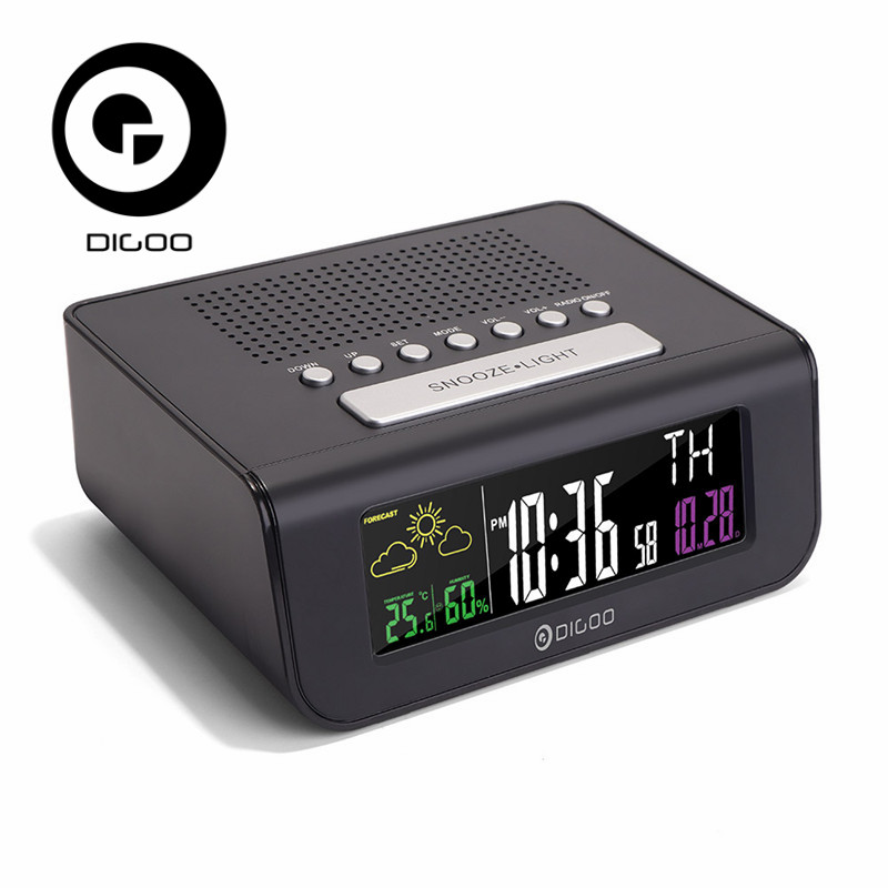 Digoo DG FR100 Smart Set Wireless Digital Alarm Clock Weather Forecast Station Sensor Clock With FM Radio Clock