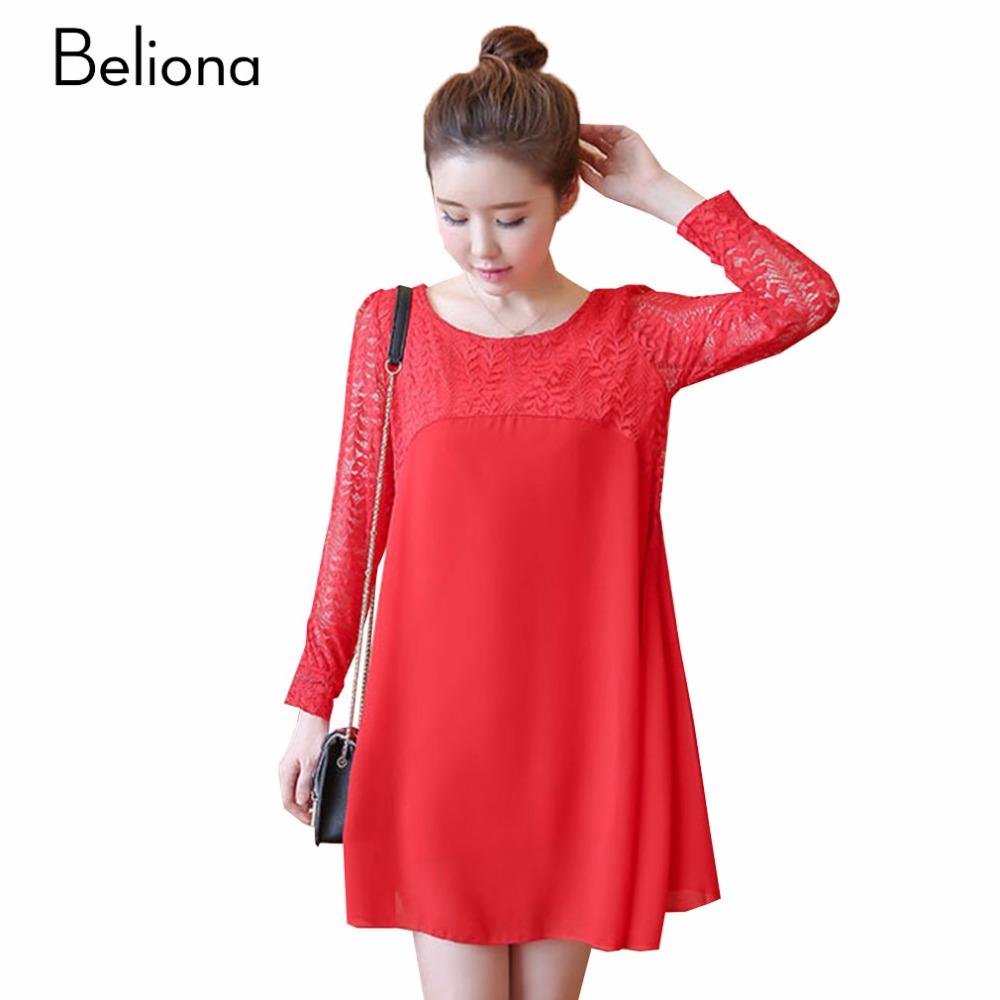 Popular red lace maternity dress buy cheap red lace maternity black red lace maternity dresses for autumn spring long sleeve loose casual pregnancy clothes for pregnant ombrellifo Image collections