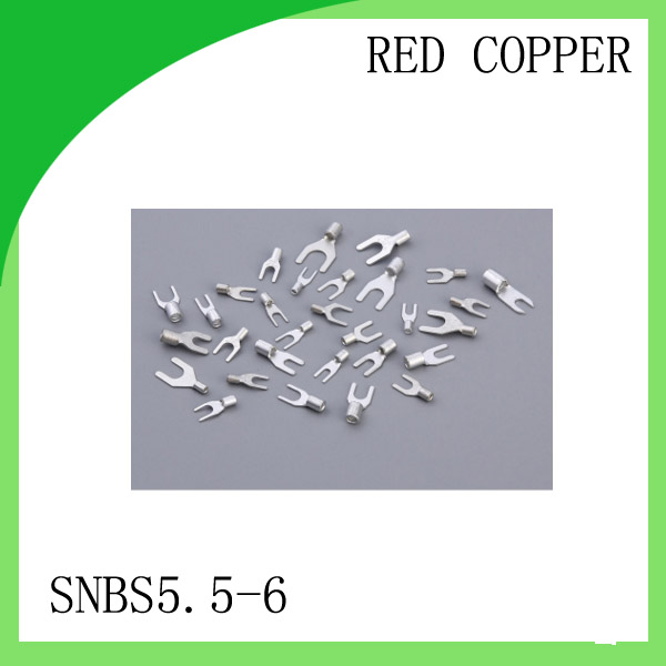 High Quailty Red copper 1000 PCS SNBS5.5-6 Cold Pressed Terminal Connector 12AWG - 10AWG Fork Type terminal rnb3 5 10 circular naked terminal type to cold pressed terminals cable connector wire connector 1000pcs pack