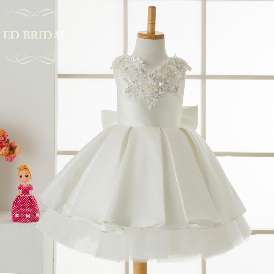 Ball Gown Puffy Satin Tiered Flower Girl Dresses with Sequin Lace ...