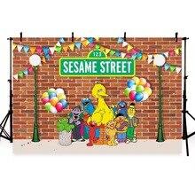 цены MEHOFOTO Elmo World Bricks Wall Sesame Street Birthday Party Custom Photography Studio Background Backdrop G-484