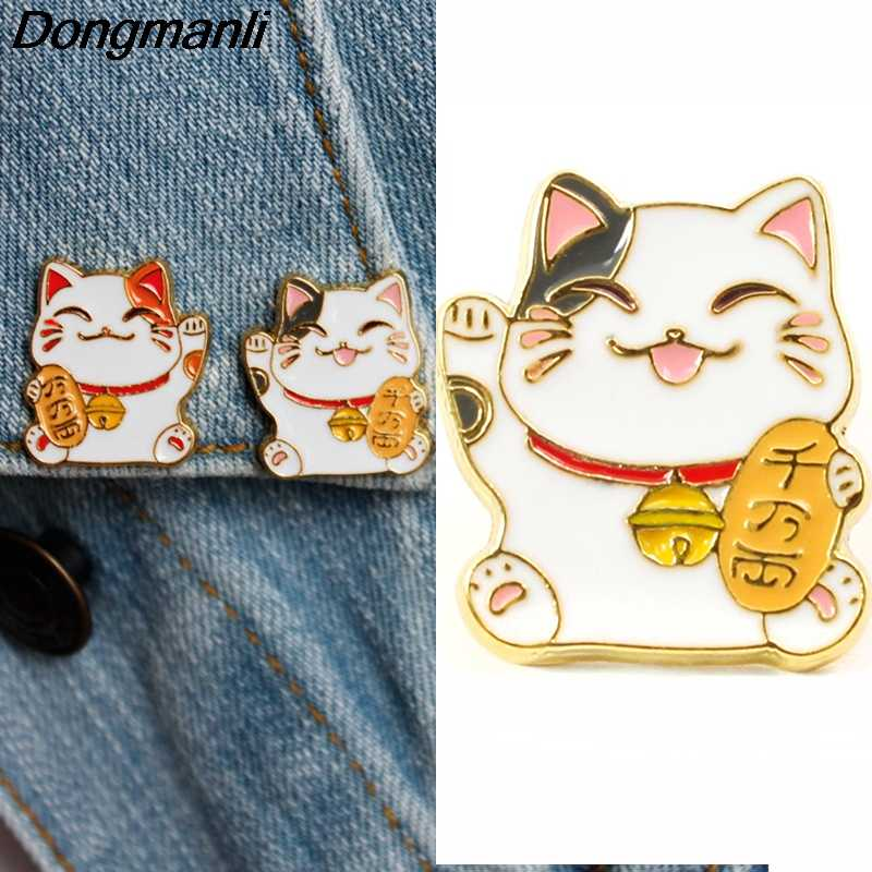 P3686 Dongmanli Gato Afortunado Bonito do Metal do Esmalte Pins e Broches para o Alfinete de Lapela Sacos Mochila Crachá Presentes Legal