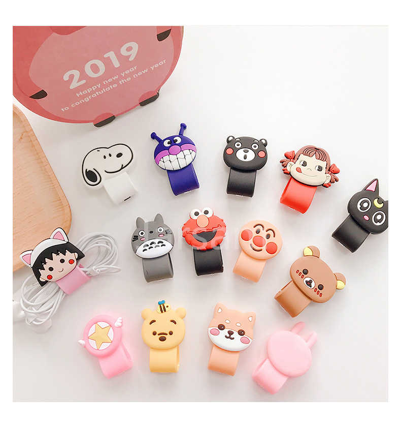 wholesale socket UniversalCartoon Cable Organizer Bobbin Winder Cable Protector Expanding phone Stand Finger car phone Holder
