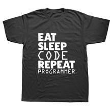 WEELSGAO Eat Sleep Code Programming JAVA HTML Comedy T-shirt Funny Short Sleeve