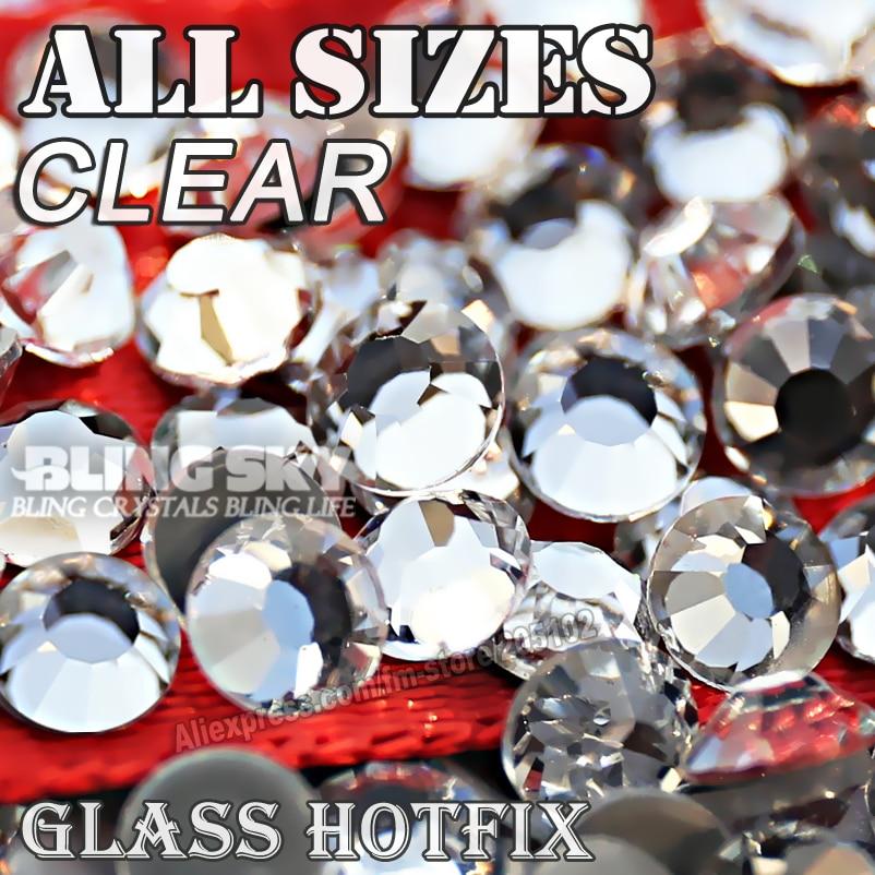 2028 AAA KVALITET CLEAR SS4 SS5 SS6 SS10 SS16 SS20 SS30 Hotfix Rakstensglitter Crystal stensrem för mode DIY plagg
