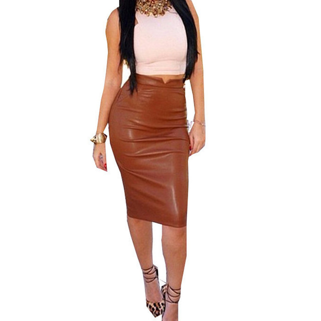 9bb4bcd2dc023 2018 New Vintage Women OL PU Leather Skirt High Waist Sexy Pencil Office Skirts  Womens Solid Midi Bodycon Skirt Plus Size S-XXL