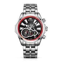 BUREI 17001 Switzerland Watches Men Luxury Racing Speed Master Series Chronograph Luminous Sapphire Red Stainless Steel