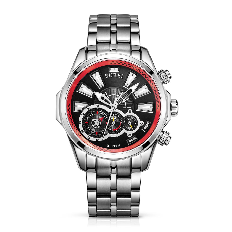 BUREI 17001 Switzerland watches font b Men s b font Luminous Hands Chronograph font b Quartz