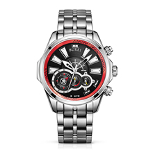 BUREI 17001 Switzerland watches Men's Luminous Hands Chronograph Quartz Watch with Link Bracelet, Silver Red Bezel Black Dial