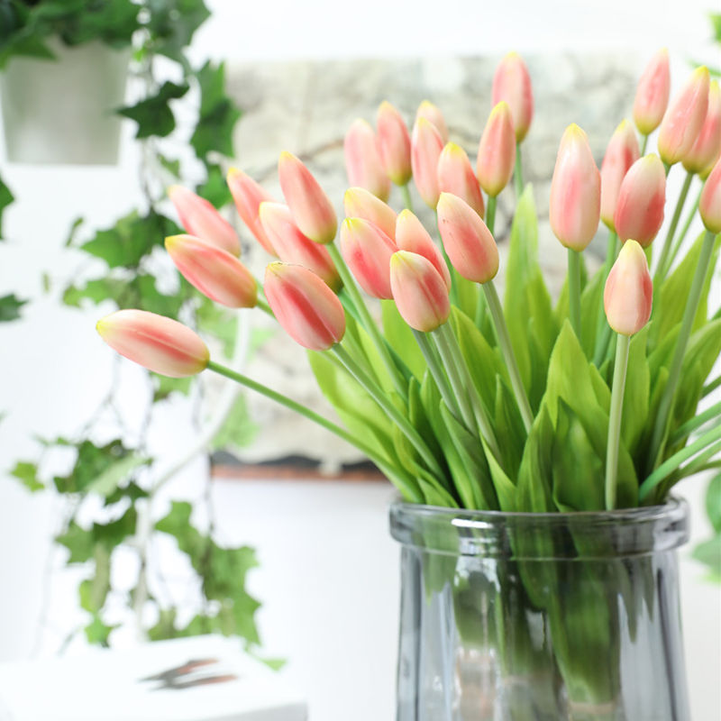 Luxury Real Touch Tulips Bunch Soft Plastic Artificial Flower For Home Wedding Decoration Fake Hand Flowers Fleur Artificielle